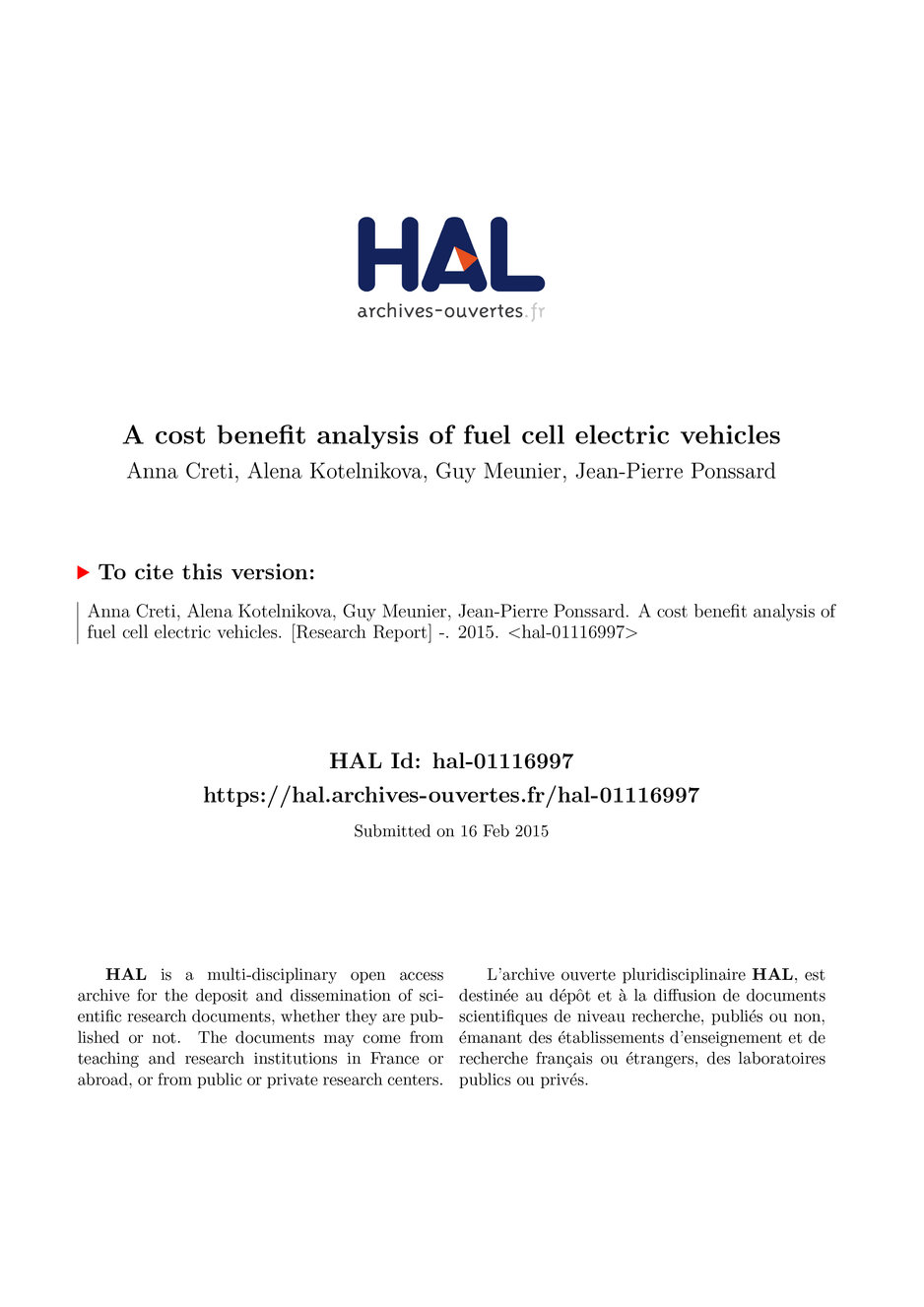 A cost benefit analysis of fuel cell electric vehicles